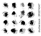 abstract black textured ink... | Shutterstock .eps vector #393374347