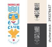snorkeling club emblem. vector... | Shutterstock .eps vector #393378637