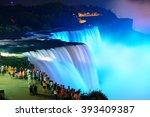Niagara Falls Lit At Night By...