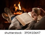 woman resting with cup of hot... | Shutterstock . vector #393410647