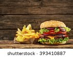 delicious hamburger with french ... | Shutterstock . vector #393410887