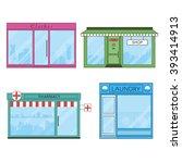 set of vector flat design shops ... | Shutterstock .eps vector #393414913