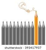 gray pencils and one orange... | Shutterstock .eps vector #393417937