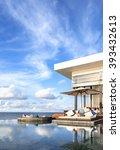 swimming pool on the ocean in...   Shutterstock . vector #393432613