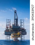 Small photo of Oil and gas drilling rig work over remote wellhead platform to completion oil and gas produce well by using drilling bit which made from carbide or diamond at head bit and drive by mud pressure