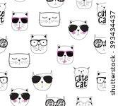 cute handdrawn cat seamless...   Shutterstock .eps vector #393434437