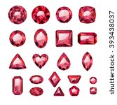 set of realistic red jewels.... | Shutterstock .eps vector #393438037