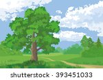 landscape  summer forest and... | Shutterstock .eps vector #393451033