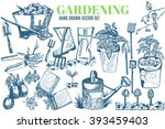 hand drawn vector garden tools. ... | Shutterstock .eps vector #393459403
