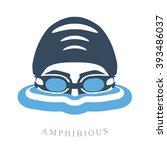 premium logo labels swimmer's... | Shutterstock .eps vector #393486037