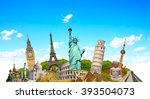 famous monuments of the world... | Shutterstock . vector #393504073