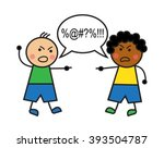 black man and caucasian man... | Shutterstock .eps vector #393504787