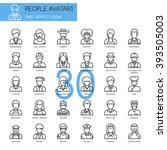 people avatars   thin line and... | Shutterstock .eps vector #393505003