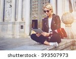 hipster girl with trendy look... | Shutterstock . vector #393507973