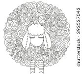 artistically ornamental sheep.  ... | Shutterstock .eps vector #393537043