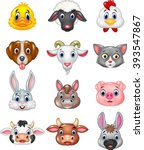 cartoon happy animal head... | Shutterstock . vector #393547867