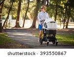 young mother walking and... | Shutterstock . vector #393550867