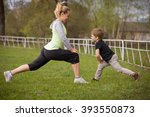 happy son and mother are doing... | Shutterstock . vector #393550873