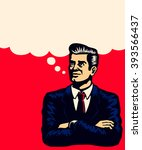 retro businessman thinking with ... | Shutterstock .eps vector #393566437