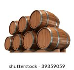 Wine barrels isolated on white - stock photo