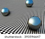 Metallic Spheres On Checker...