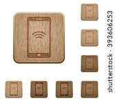 set of carved wooden wireless...