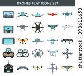 set of modern air drones ... | Shutterstock .eps vector #393611653
