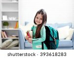 little girl with green back... | Shutterstock . vector #393618283