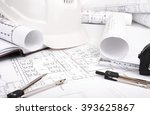 architecture plan and rolls of... | Shutterstock . vector #393625867