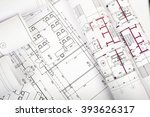 architecture plan and rolls of... | Shutterstock . vector #393626317