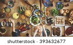 brunch choice crowd dining food ... | Shutterstock . vector #393632677