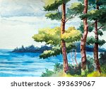 Trees And River. Watercolor...