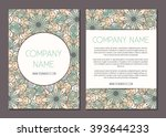 vintage cards with floral... | Shutterstock .eps vector #393644233