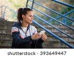 beautiful hispanic woman listen ... | Shutterstock . vector #393649447