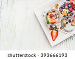 healthy breakfast preparation ... | Shutterstock . vector #393666193