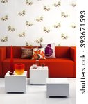 Red Modern Sofa And Three Cubi...