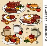 classic breakfast cartoon set.  | Shutterstock .eps vector #393689467