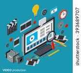 video production flat 3d... | Shutterstock .eps vector #393689707