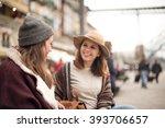 couple of friends talking in... | Shutterstock . vector #393706657