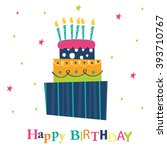 birthday card with birthday... | Shutterstock .eps vector #393710767