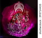 hindu lord ganesha with... | Shutterstock .eps vector #393714433