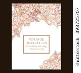 invitation with floral... | Shutterstock . vector #393725707