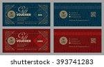 gift voucher template in luxury ... | Shutterstock .eps vector #393741283