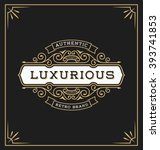 vintage flourish logo label... | Shutterstock .eps vector #393741853