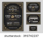 Luxurious wedding invitation on chalkboard background. Include Invitation, RSVP card, Save the date, Thank you card. Vector illustration | Shutterstock vector #393742237