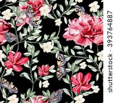pattern with watercolor... | Shutterstock . vector #393764887