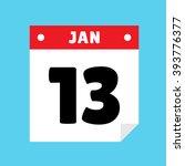 calendar icon flat january 13