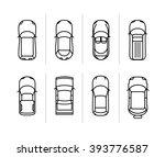 vector set outline cars top... | Shutterstock .eps vector #393776587