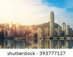 hong kong's victoria harbour in ... | Shutterstock . vector #393777127