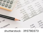 balance sheet  pencil ... | Shutterstock . vector #393780373